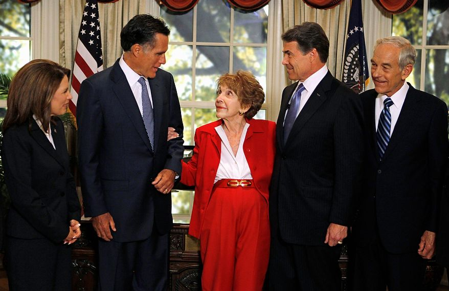 Republican presidential candidates are greeted by former first lady Nancy Reagan, center, before a Republican presidential candidate debate at the Reagan Library Wednesday, Sept. 7, 2011, in Simi Valley, Calif. From left are,  Rep. Michele Bachmann, R-Minn., former Massachusetts Gov. Mitt Romney, Reagan, Texas Gov. Rick Perry, and Rep. Ron Paul, R-Texas. (AP Photo/Chris Carlson, Pool)