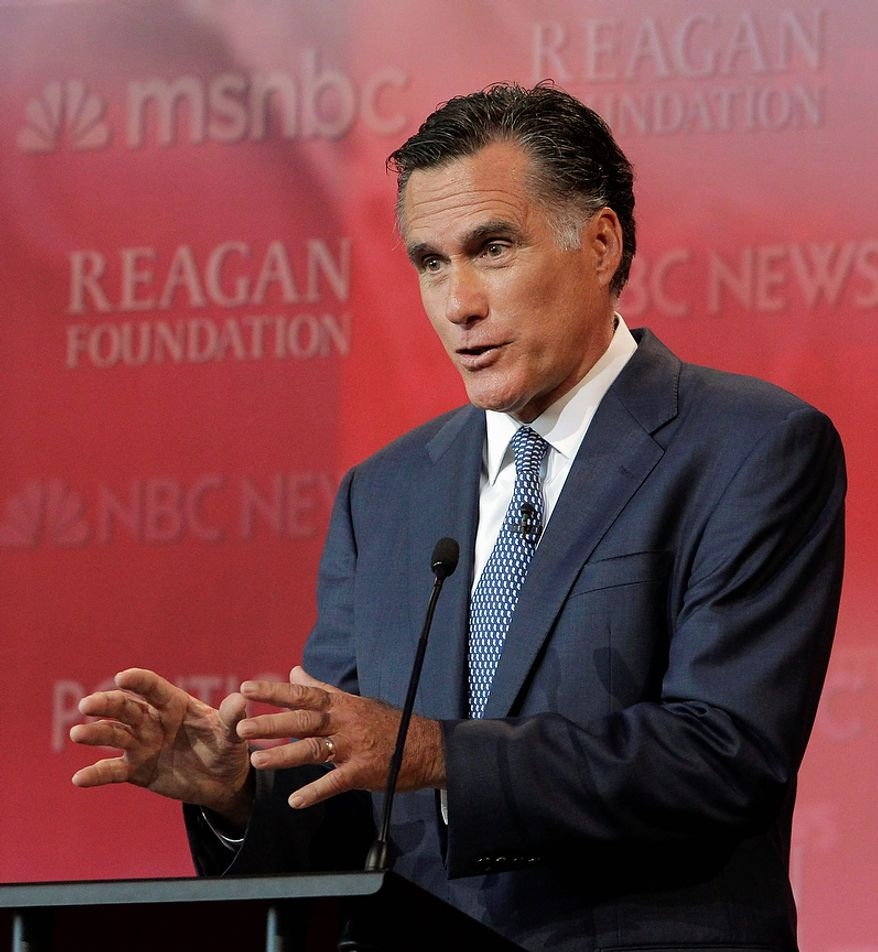 Republican presidential candidate former Massachusetts Gov. Mitt Romney answers a question during a Republican presidential candidate debate at the Reagan Library Wednesday, Sept. 7, 2011, in Simi Valley, Calif.  (AP Photo/Jae C. Hong)