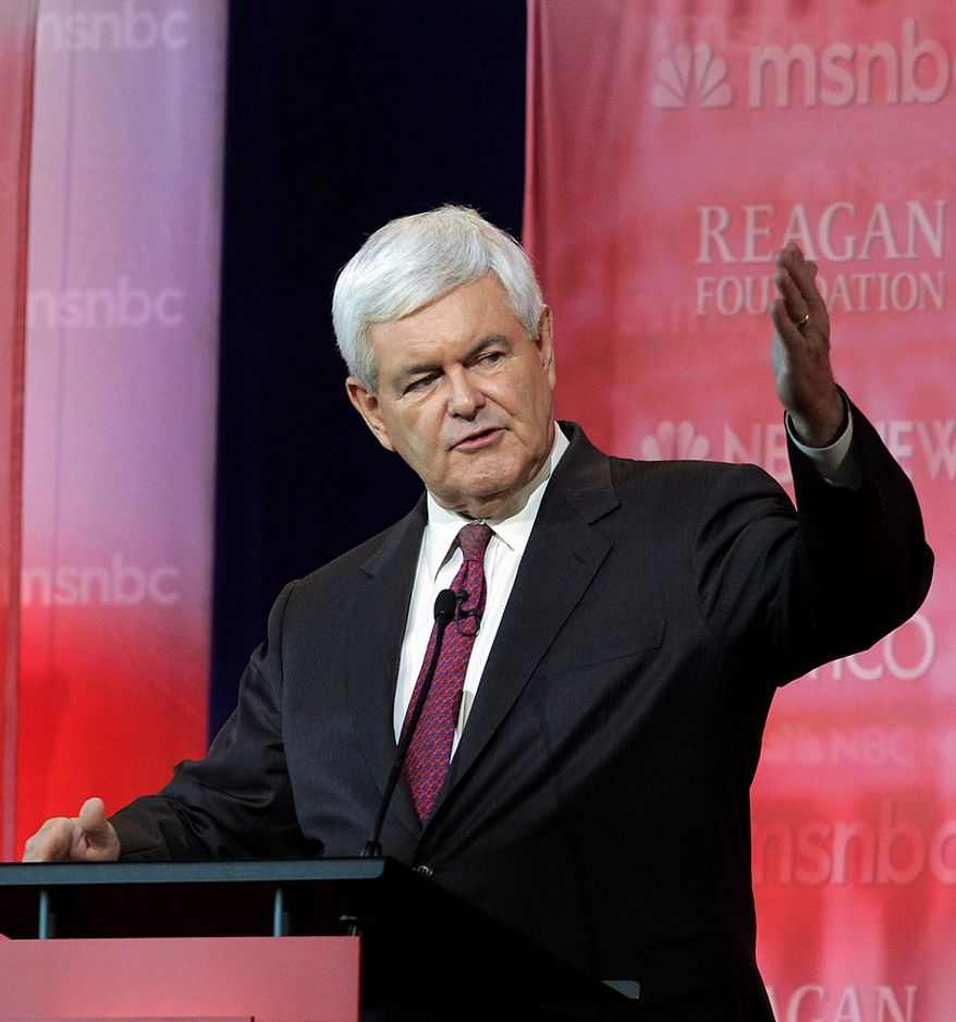 ** FILE ** Republican presidential candidate former House Speaker Newt Gingrich speaks during a Republican presidential candidate debate. (AP Photo/Jae C. Hong