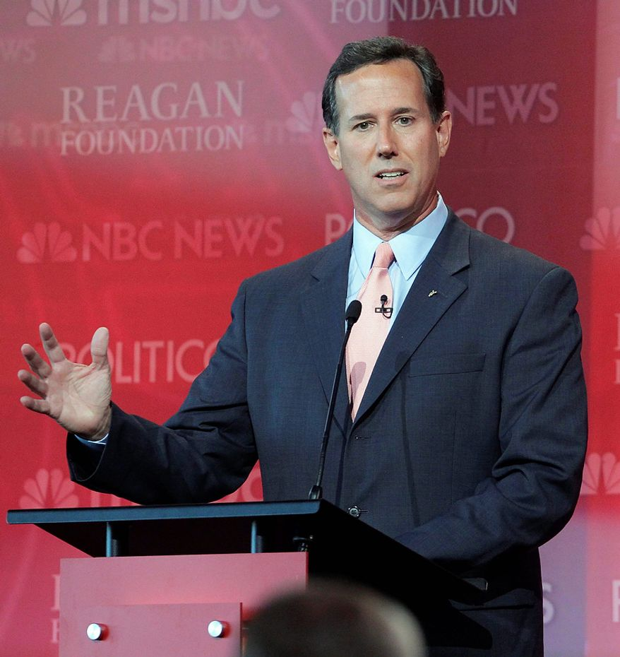 Republican presidential candidate former Sen. Rick Santorum speaks during a Republican presidential candidate debate at the Reagan Library Wednesday, Sept. 7, 2011, in Simi Valley, Calif.  (AP Photo/Jae C. Hong)