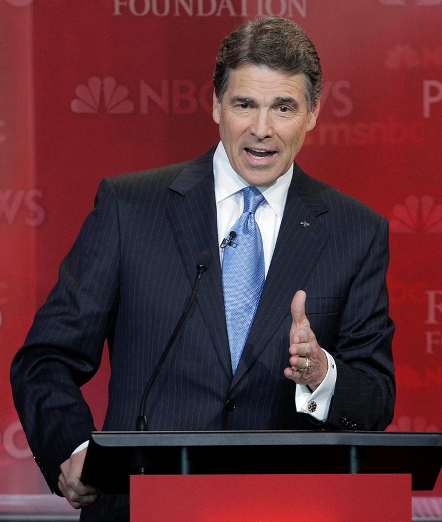 Republican presidential candidate Texas Gov. Rick Perry speaks during a Republican presidential candidate debate at the Reagan Library Wednesday, Sept. 7, 2011, in Simi Valley, Calif.  (AP Photo/Jae C. Hong)