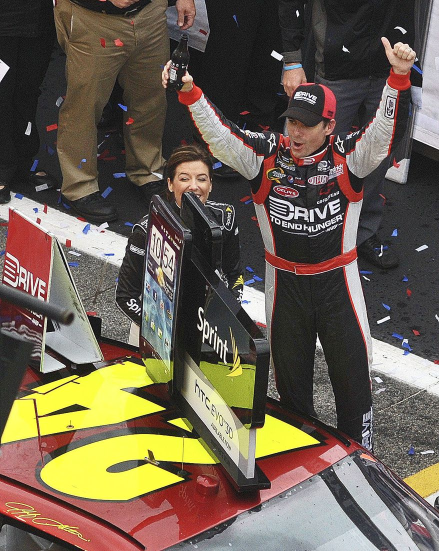 Jeff Gordon's victory Tuesday at Atlanta was his the 85th of his career, trailing only Richard Petty (200) and David Pearson (105). (Associated Press)