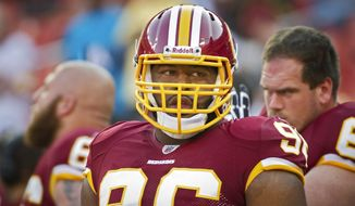 As a Giant, nose tackle Barry Cofield beat the Redskins nine out of 10 times. Reed Doughty (right) will be trying to do his part in the secondary, starting in place of injured LaRon Landry. (Rod Lamkey Jr./The Washington Times)