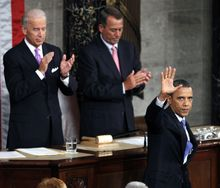 President Obama waves after speaking to a joint session of Congress at the Capitol in Washington, Thursday, Sept. 8, 2011. Vice President Joe Biden and House Speaker John Boehner applaud. (AP Photo/Evan Vucci)