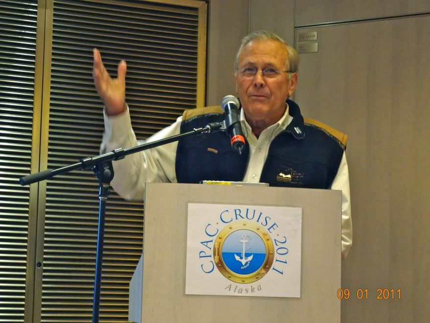 Donald H. Rumsfeld, secretary of defense in the George W. Bush administration speaks at CPAC Alaska cruise 2011. (Emily Miller/The Washington Times)