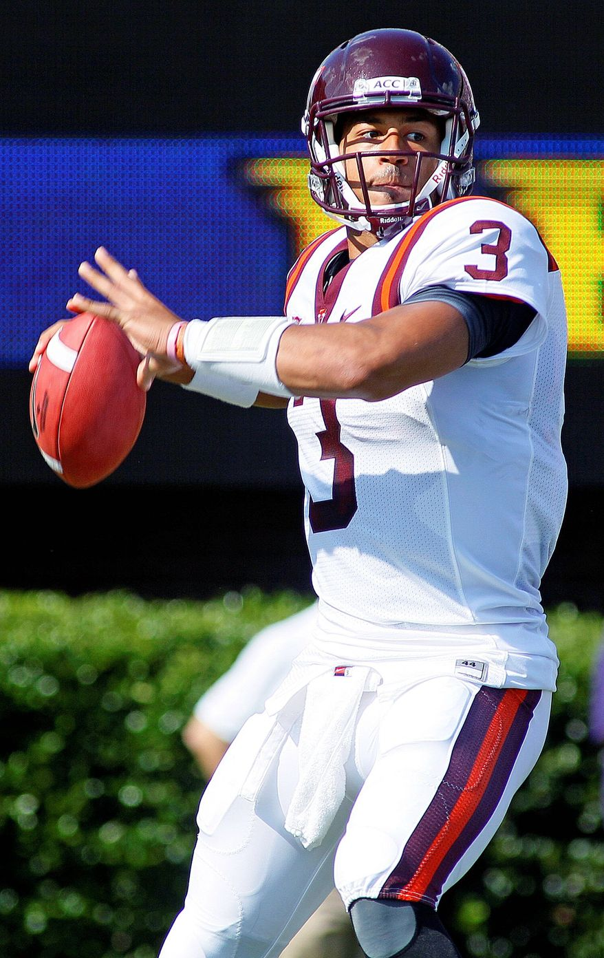 Virginia Tech sophomore QB Logan Thomas completed 8 of 20 passes for 91 yards against East Carolina. (Associated Press)