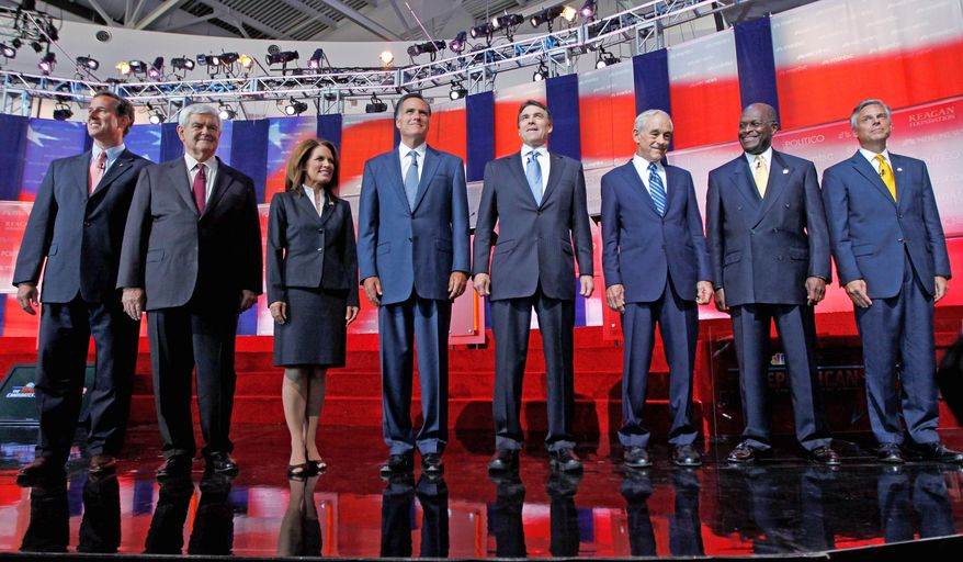 The Republican lineup in 2011 prior to the presidential debate at the Reagan Library in Simi Valley, Calif. From left: former Pennsylvania Sen. Rick Santorum; former House Speaker Newt Gingrich; Rep. Michele Bachmann, Minnesota Republican; former Massachusetts Gov. Mitt Romney; Texas Gov. Rick Perry; Rep. Ron Paul, Texas Republican; businessman Herman Cain; and former Utah Gov. Jon Huntsman Jr. (Associated Press/File)