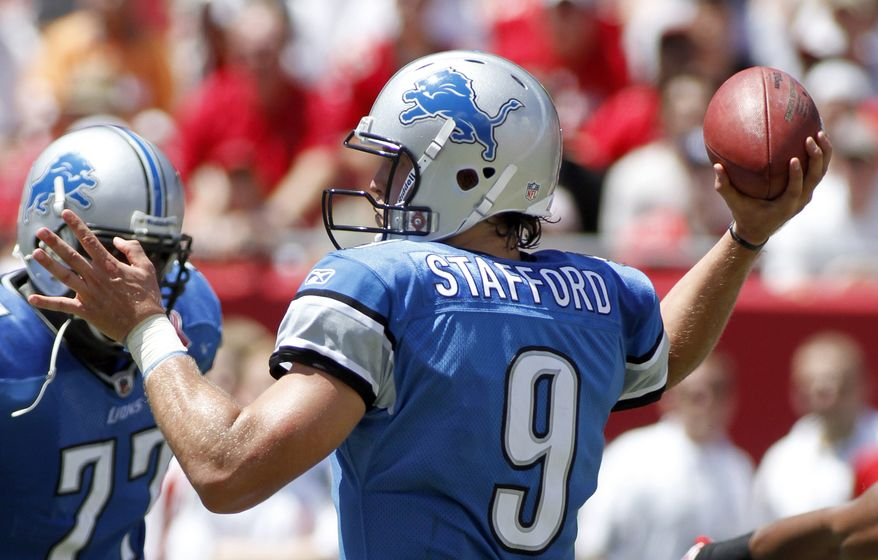 Detroit Lions quarterback Matthew Stafford threw for 305 yards and three touchdowns in the Lions' 27-20 win over the Tampa Bay Buccaneers on Sunday. (AP Photo/Reinhold Matay)