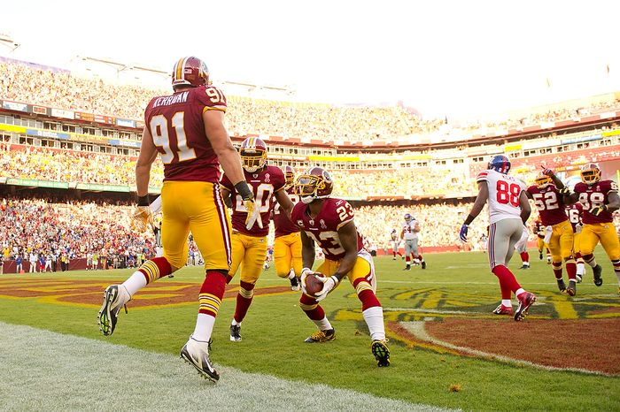 Washington Redskins LB Ryan Kerrigan (91) celebrates with teammates after intercepting a ball and runing it in 9 yards for a touchdown against the New York Giants during the 3rd quarter at FedEx Field in Landover, Md. Sunday, September 11, 2011. (Andrew Harnik / The Washington Times)