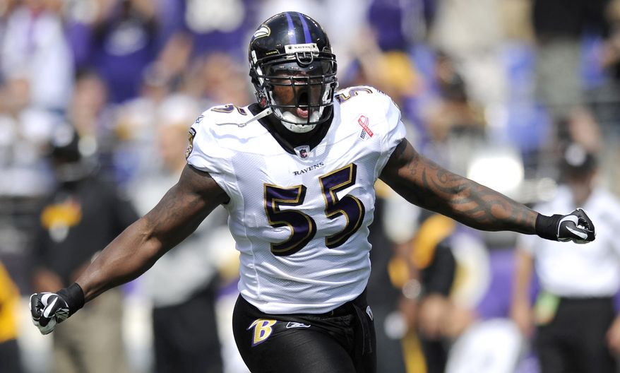 Baltimore Ravens linebacker Terrell Suggs reacts after forcing Pittsburgh Steelers quarterback Ben Roethlisberger to fumble the ball when he sacked him in the first half of an NFL football game, Sunday, Sept. 11, 2011, in Baltimore. The Ravens recovered the ball on the play. (AP Photo/Nick Wass)