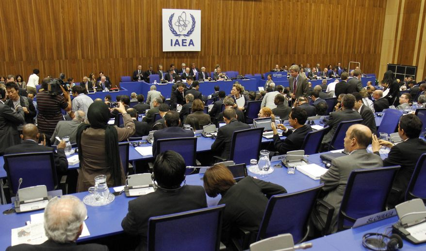 The International Atomic Energy Agency's board of governors meets at the International Center in Vienna, Austria, on Monday, Sept. 12, 2011. (AP Photo/Ronald Zak)