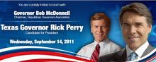 In this image, released by the Virginia Republican Party, an invitation touts a Republican Party fundraiser featuring Texas Gov. Rick Perry and Virginia Gov. Bob McDonnell in Richmond on Wednesday. State party Chairman Pat Mullins sent the invitation to party activists across the commonwealth.