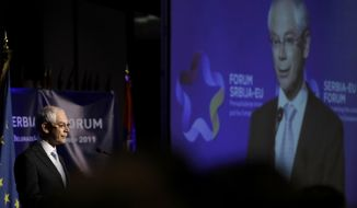 EU President Herman Van Rompuy speaks during a Serbia-EU Forum in Belgrade, Serbia, on Sept. 9, 2011. (Associated Press)