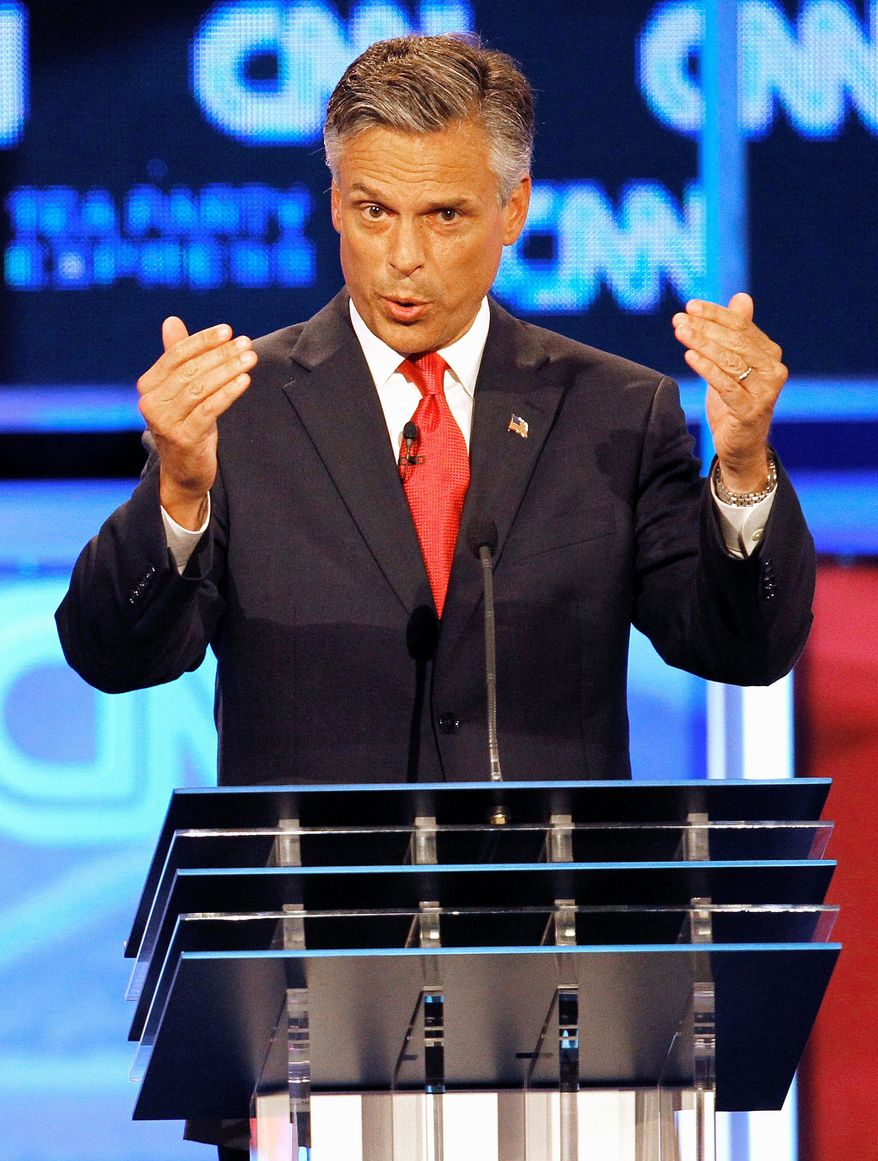 "Republican presidential hopeful Jon Huntsman Jr. revealed his rusty pop-culture knowledge during Monday's debate in Tampa, Fla., by making an obscure reference to former Nirvana frontman Kurt Cobain. ""He's clearly after the all-important early 90s grunge scene voters,"" tweeted Caleb Howe of RedState. (Associated Press)"