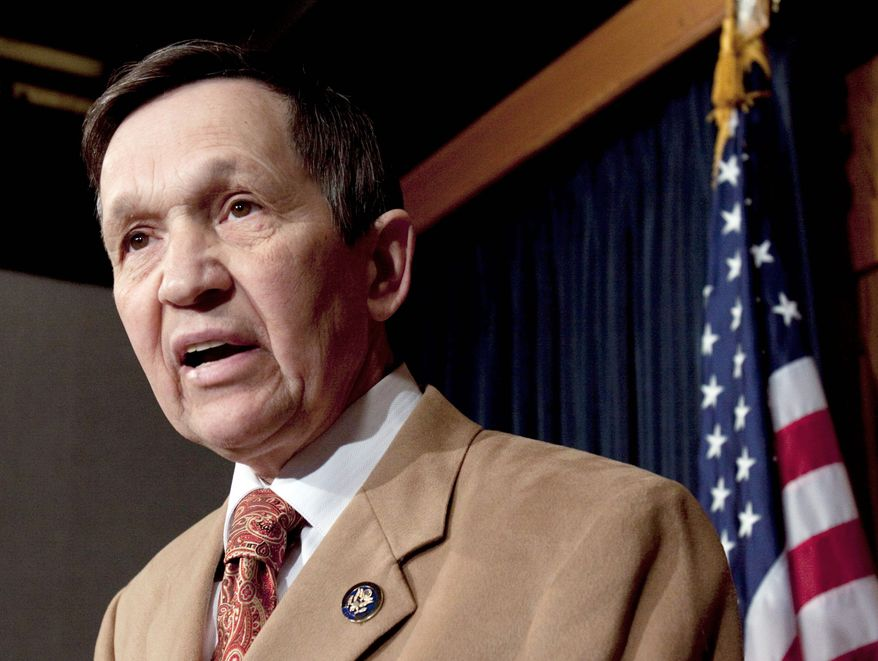 Reps. Dennis J. Kucinich (seen here) and Marcy Kaptur, Ohio Democrats, have been cast together into a newly redrawn district across northern Ohio, stretching alongside Lake Erie from Cleveland to Toledo. (Associated Press)