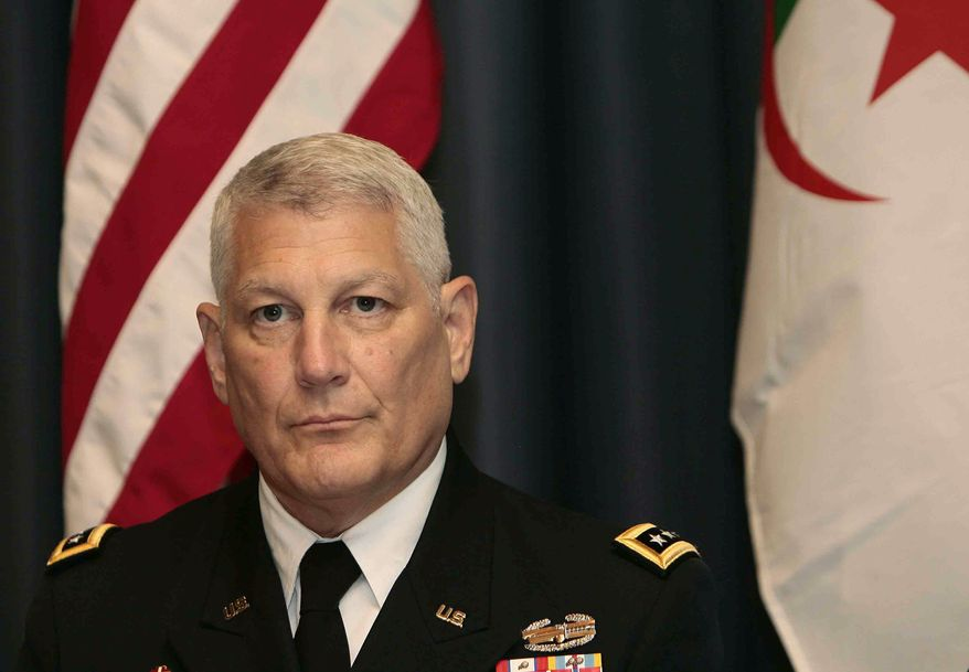 U.S. Army Gen. Carter Ham, the head of the U.S. Africa Command, attends a conference on terrorism in the Sahara in Algiers, Algeria, on Thursday, Sept. 8, 2011. (AP Photo)