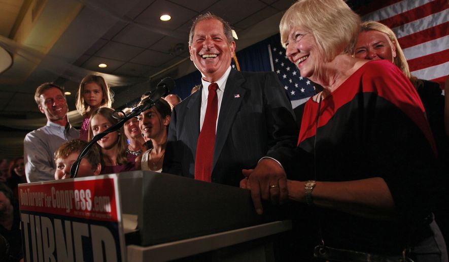 Bob Turner (center), joined by his wife Peggy (right) and family, smiles as he delivers his victory speech during an election night party in New York on Sept. 14, 2011. Turner won a special election to fill the seat vacated by Anthony D. Weiner in New York's 9th Congressional District. (Associated Press)