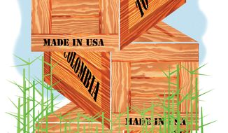 Illustration: Trade by Alexander Hunter for The Washington Times