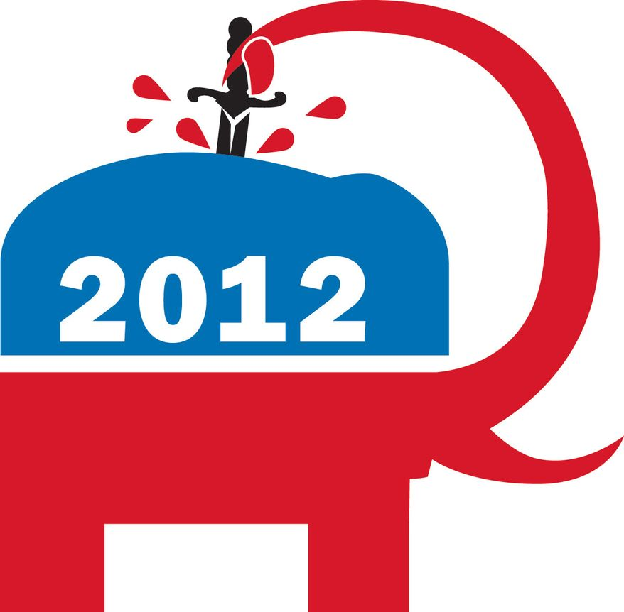 Illustration: Divided Republicans by Linas Garsys for The Washington Times