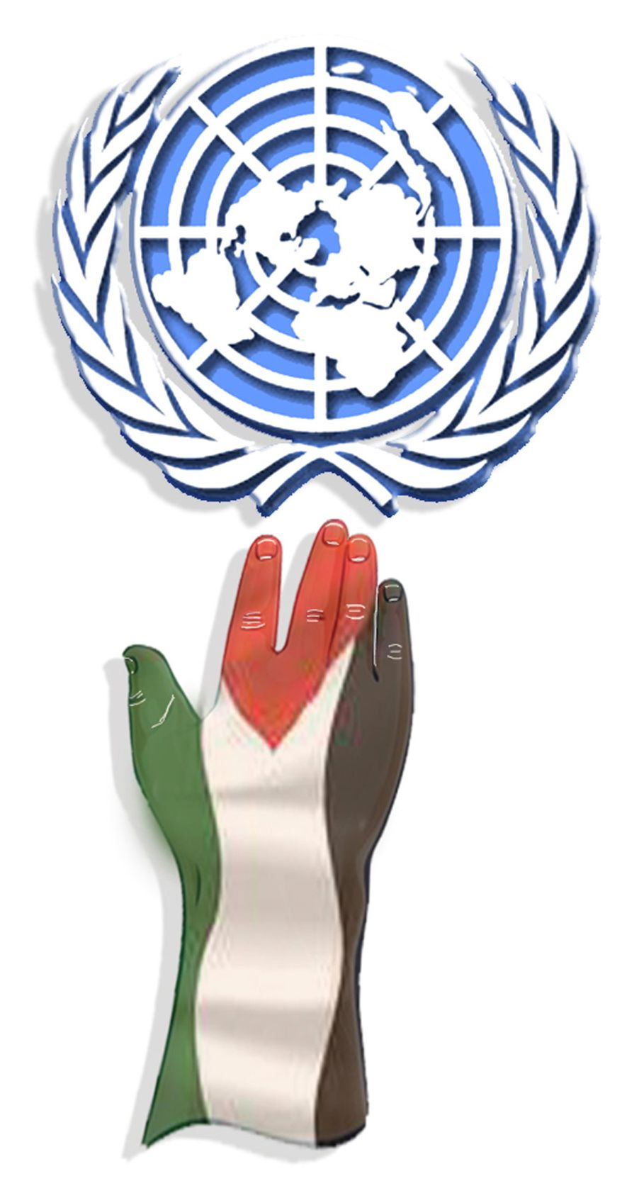 Illustration: U.N. and Palestine by John Camejo for The Washington Times