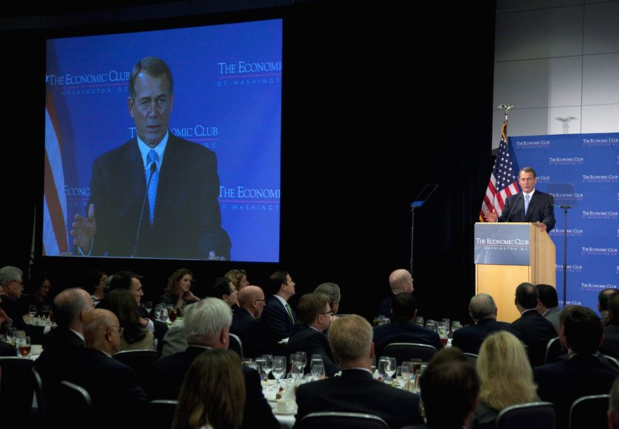 "Speaking to the Economic Club of Washington, House Speaker John A. Boehner urged the deficit supercommittee to lay the groundwork for a rewrite of the tax code. ""I think tax reform should deal with the whole tax code, both the personal side and the corporate side, and it should result in a code that is simpler and fairer to everyone,"" he said. (Associated Press)"