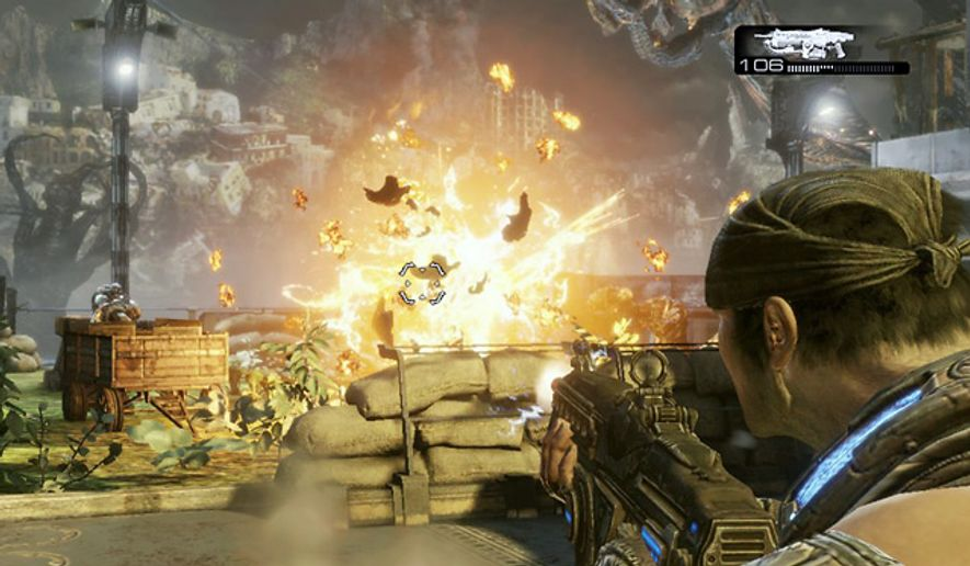Marcus Fenix watches a Lambent Drudge explode in the video game Gears of War 3 for the Xbox 360.