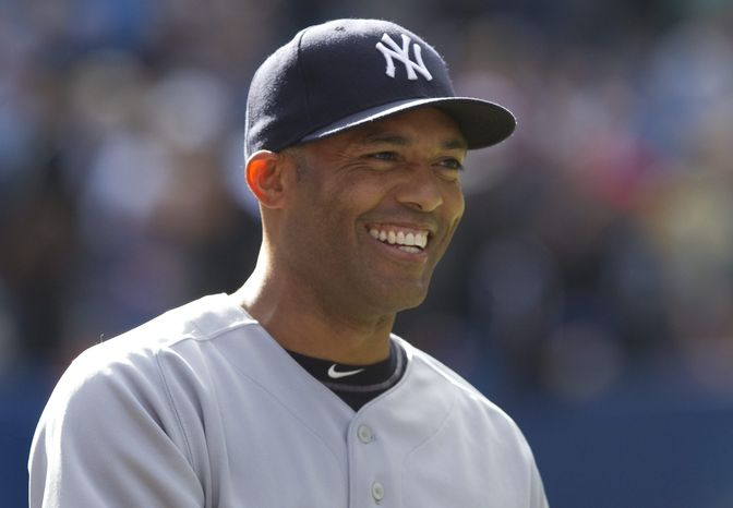 New York Yankees closer Mariano Rivera tied the Major League Baseball all-time saves record in the 7-6 win over the Toronto Blue Jays on Saturday, Sept. 17, 2011. Rivera tied Trevor Hoffman with 601 career saves. (AP Photo/The Canadian Press, Darren Calabrese)