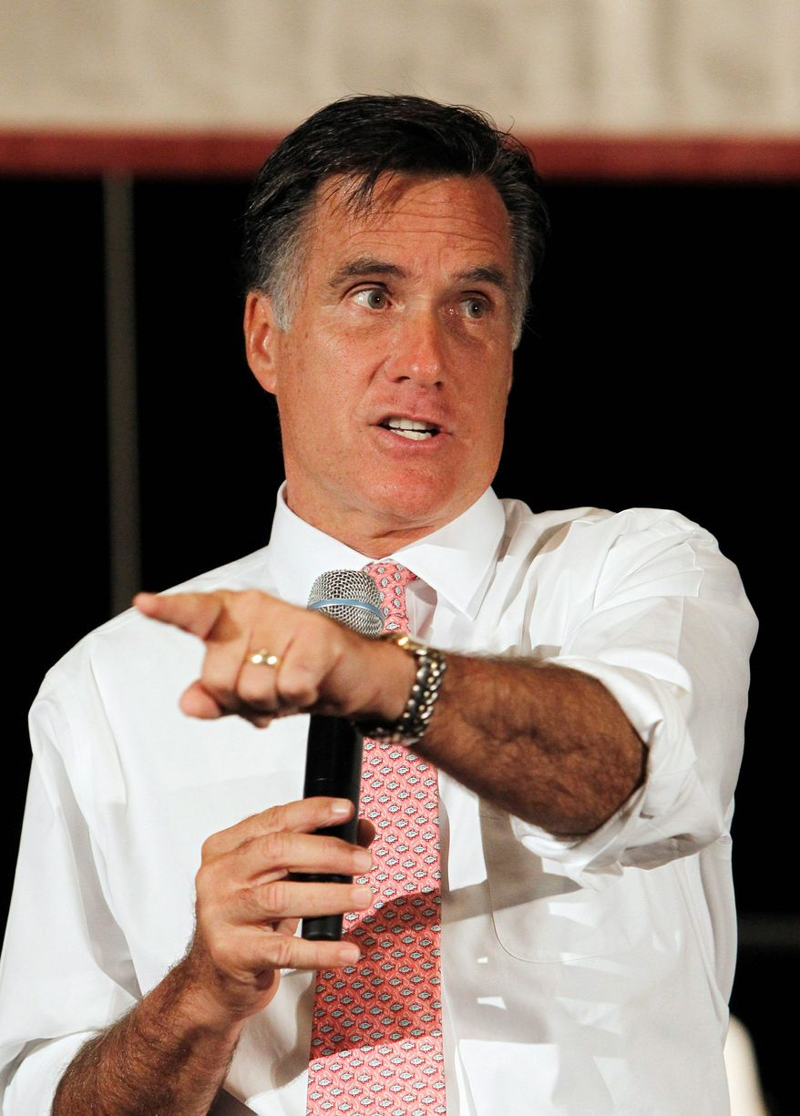 Republican presidential candidate and former Massachusetts Gov. Mitt Romney holds a town-hall meeting on Wednesday, Sept. 14, 2011, in Sun Lakes, Ariz. (Associated Press)