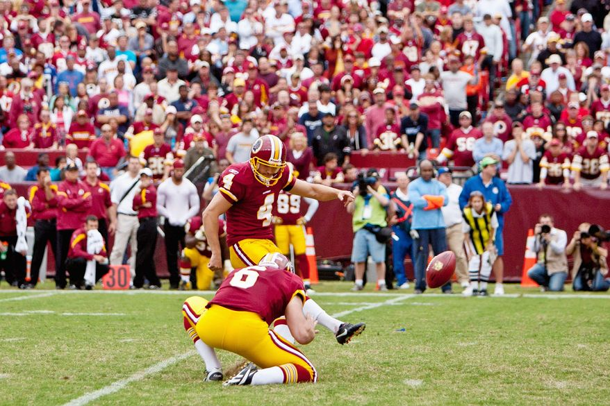 Washington Redskins kicker Graham Gano delivers the game-winning field goal, a 34-yarder with 1:45 to play, Sunday against the Cardinals. (T.J. Kirkpatrick/The Washington Times)