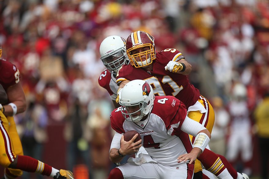 Washington Redskins rookie linebacker Ryan Kerrigan (91) sacks Arizona Cardinals quarterback Kevin Kolb (4) during the third quarter at FedEx Field in Landover, Md., on Sunday, Sept. 18, 2011. (Pratik Shah/The Washington Times)