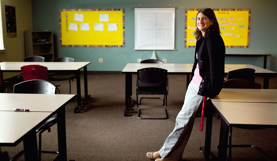 """This is definitely my passion,"" D.C. Teacher of the Year Shira Fishman says of teaching. After working as a mechanical engineer, she changed careers and now teaches math at McKinley Technology High School in Northeast. ""She has an uncanny ability to make the content come to life,"" says McKinley Principal David Pinder. (Andrew Harnik/The Washington Times)"