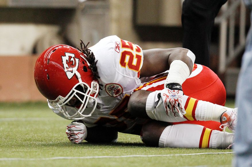 Kansas City running back Jamaal Charles enjoyed a breakout season in 2010 with 1,467 yards. This year, his season is over after two games because of a torn ACL suffered in Sunday's 48-3 loss to Detroit. (Associated Press)