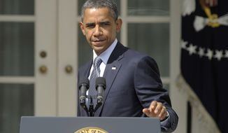 President Obama walks away from the podium after making a statement at the White House on Sept. 19, 2011. (Associated Press)