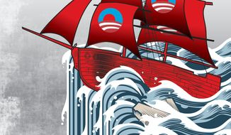 Illustration: Obama sailing by Alexander Hunter for The Washington Times