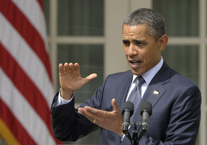 President Obama gestures while speaking Sept. 19, 2011, at the White House. (Associated Press)