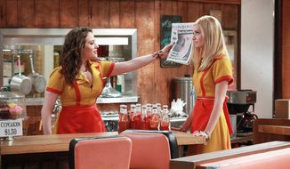 "CBS VIA ASSOCIATED PRESS Kat Dennings (left) and Beth Behrs star in CBS' new comedy ""2 Broke Girls."" Miss Dennings says she can relate to her character's money issues."