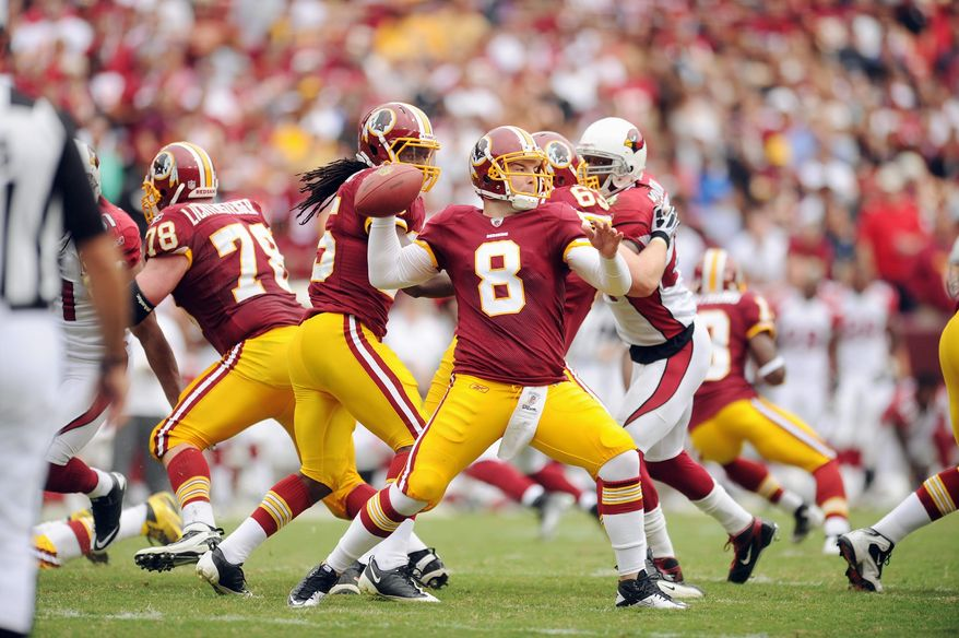 andrew harnik/the washington times Redskins quarterback Rex Grossman was 5-for-12 for 36 yards, two touchdowns and an interception in the red zone Sunday in the win against the Cardinals.