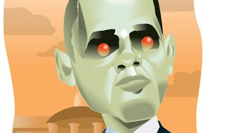 Illustration: Alien Obama by Linas Garsys for The Washington Times