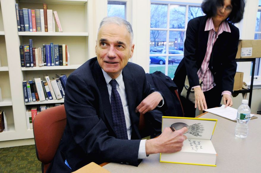 """Ralph Nader says the Democrats must mount an intraparty challenge to President Obama in the presidential primary season in order to promote the liberal causes of the party. Otherwise the liberal agenda """"will be muted and ignored,"""" says the longtime activist. (Associated Press)"""