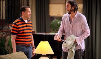 """""""Two and a Half Men"""" stars Jon Cryer (left) and Ashton Kutcher didn't feel any adverse effects of Charlie Sheen's departure Monday, as a series-high 28.7 million people tuned in to watch the season premiere. (CBS via Associated Press)"""