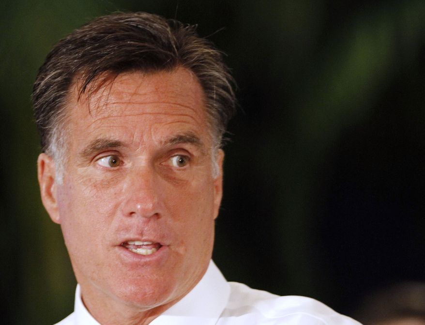 Former Massachusetts Gov. Mitt Romney, who is running for the 2012 Republican presidential nomination, speaks during a town-hall meeting in Miami on Wednesday, Sept. 21, 2011. Mr. Romney discussed his plans to improve the economy, create jobs and protect Social Security. (AP Photo/Alan Diaz)