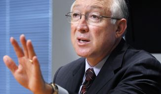 Interior Secretary Ken Salazar gestures during an interview with the Associated Press on Sept. 21, 2011, in Washington. (Associated Press)