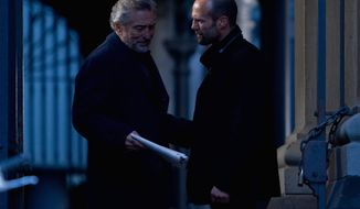 """OPEN ROAD FILMS VIA ASSOCIATED PRESS The presence of Robert De Niro (left) and Jason Statham can't save """"The Killer Elite,"""" which is weighed down by its murky plot, action cliches and wooden dialogue."""