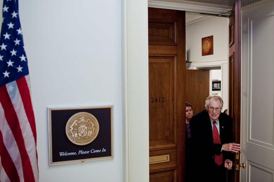 """""""As long as I have good health and the constituents give me their vote, then I'm serving,"""" says Rep. Roscoe G. Bartlett, Maryland Republican, leaving his office in the Rayburn House Office Building to head to a committee hearing on Capitol Hill this week. (T.J. Kirkpatrick/The Washington Times)"""