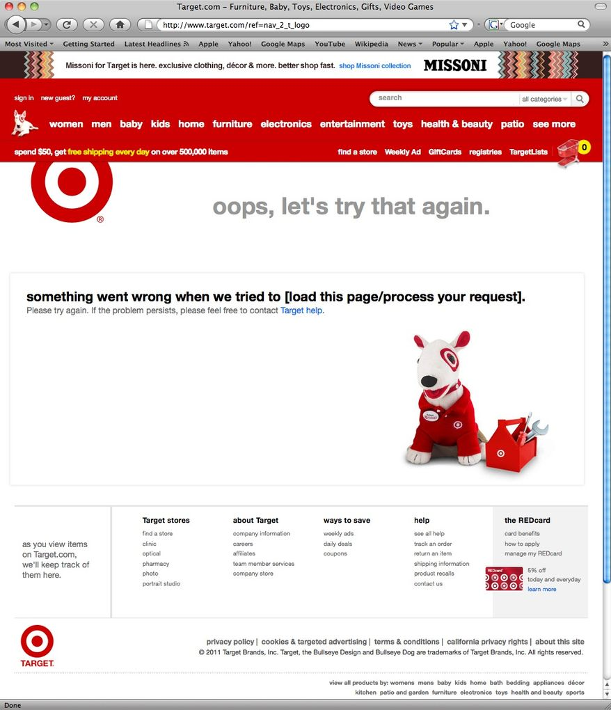 This screen shot shows the crashed Missoni page on the Target.com website. The cheap chic retailer drummed up so much interest in its exclusive, limited-time line by Italian designer Missoni that its web site crashed several times on the day it was launched, which angered customers. (AP Photo)