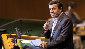 ** FILE ** Iranian President Mahmoud Ahmadinejad speaks during the 66th session of the U.N. General Assembly at the world body's headquarters in New York on Thursday, Sept. 22, 2011. (AP Photo/Andrew Burton)