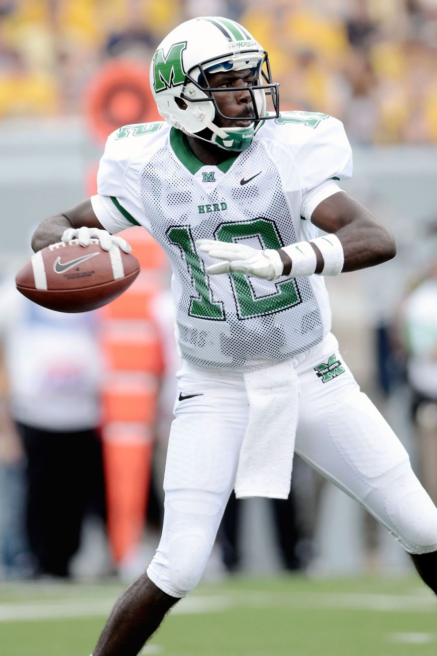 Marshall freshman QB Rakeem Cato figures to have a rough day against Virginia Tech's defense. (AP Photo/Jeff Gentner)