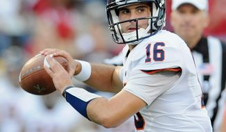 The play of Virginia quarterback Michael Rocco -- and his receivers -- figure to be vital to his team's fortunes Saturday against Southern Mississippi in a matchup of two 2-1 teams. (AP Photo/The Herald-Times, Chris Howell)