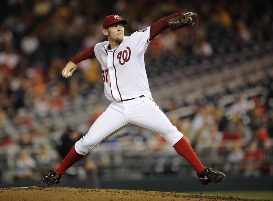 Washington Nationals starting pitcher Stephen Strasburg lasted four innings and gave up three runs (two earned) on five hits against the Atlanta Braves on Friday. The Nats lost 7-4 (AP Photo/Nick Wass)