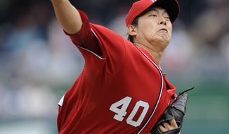 Washington Nationals starting pitcher Chien-Ming Wang threw six innings and allowed one run against the Atlanta Braves on Saturday. Washington could look to re-sign him this offseason (AP Photo/Nick Wass)